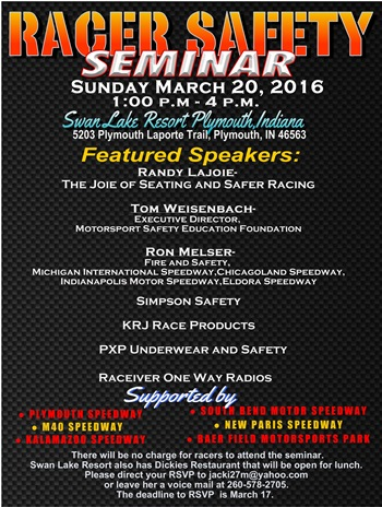 Racer Safety Seminar Scheduled for Sunday, March 20