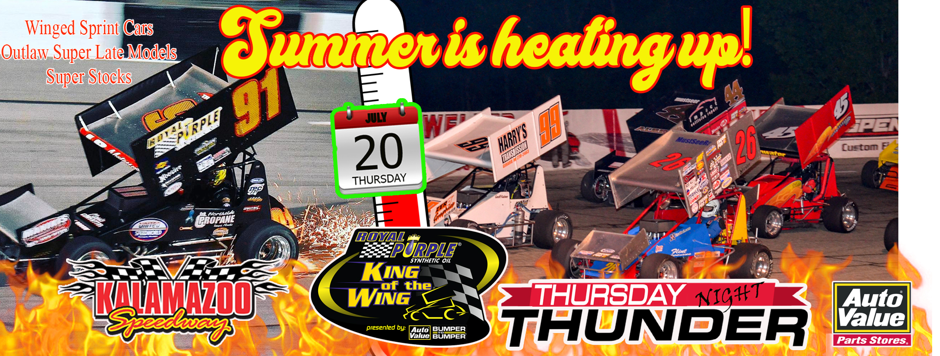 King of the Wing Winged Super Sprint Spectacular with NASCAR Outlaw Super Late Models & Super Stocks