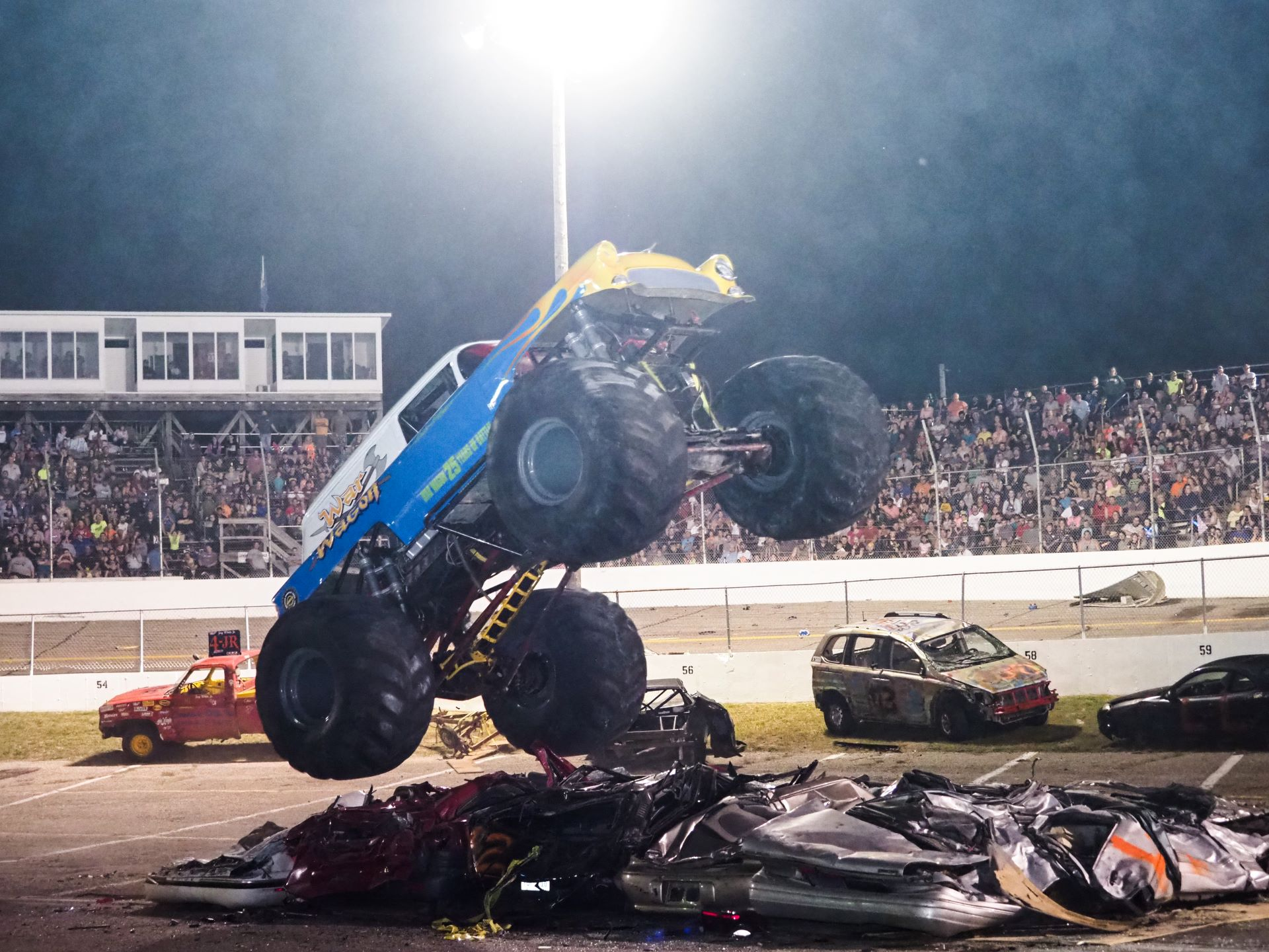 Mega Night of Destruction featuring Monster Trucks, Jet Car Melt Down, new Zoo Double Decker Cars, Bus & Trailer Races, New Stunts by Scarecrow & More PLUS Fireworks